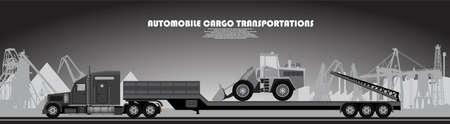 camion avec une remorque d & # 39 ; affiche sur un thème industriel