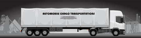 A truck with a trailer is driving along the highway Illustration