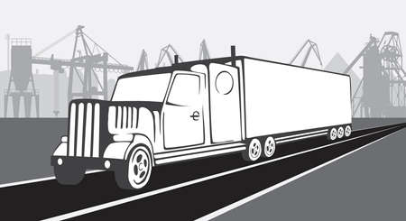 A truck tractor on a background of an industrial landscape