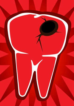 Drawn human teeth illustrated poster