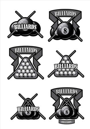 A set of illustrated icons on the topic of billiards