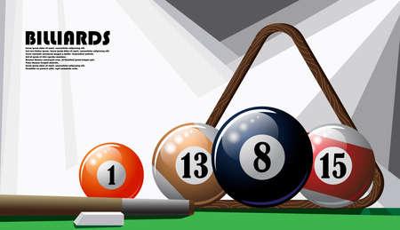 Illustrated poster on the billiard theme