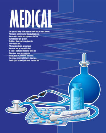 A painted poster with an enema and a stethoscope
