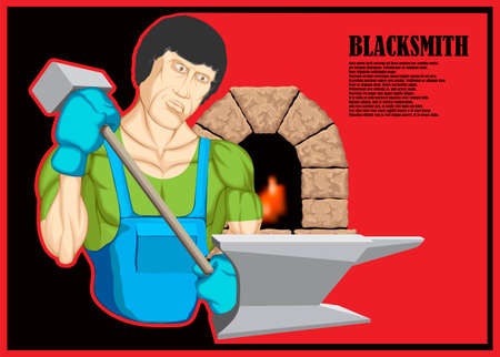 Illustrated character, muscular blacksmith