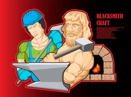 Illustration of a muscular blacksmith