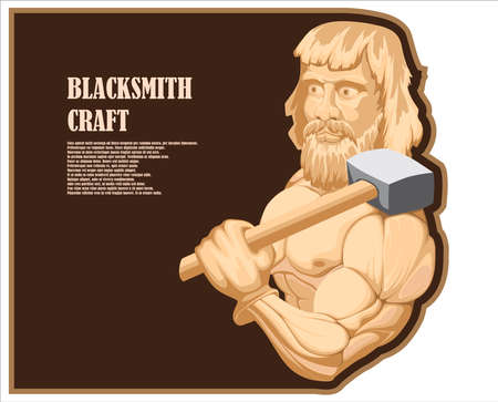 Illustration of a bald muscular blacksmith