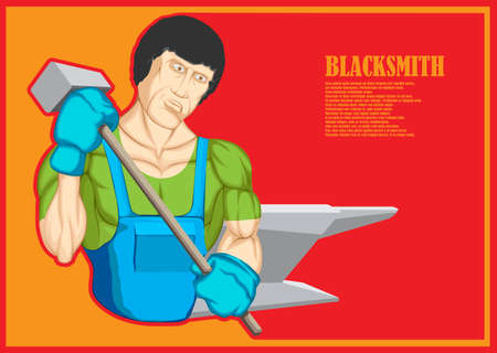 A cartoon character, a muscular blacksmith