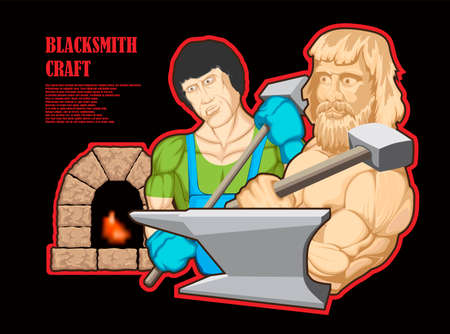 Illustrated character, brutal blacksmith