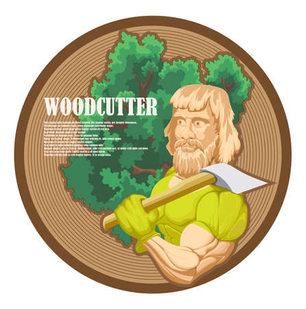 A savage woodcutter with a large ax