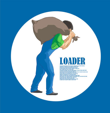 Illustration, hard worker pulling a heavy bag