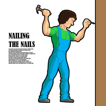 The worker hammers a hammer on a nail