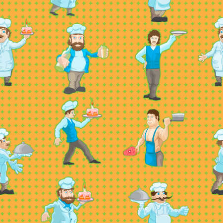 Pattern from drawn characters of cooks