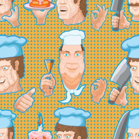 Pattern of cartoon characters chefs