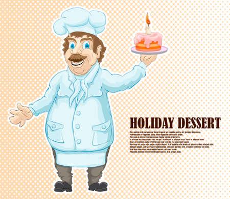 Мультяшный персонаж повара с бисквитным десертом