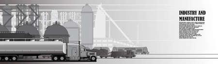 Industrial urban landscape of industrial infrastructure Illustration