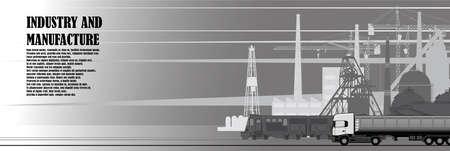 Urban landscape of factory industrial infrastructure Illustration