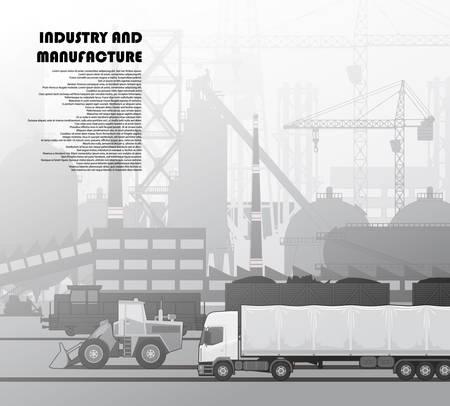 Urban landscape technogenically industrial Illustration