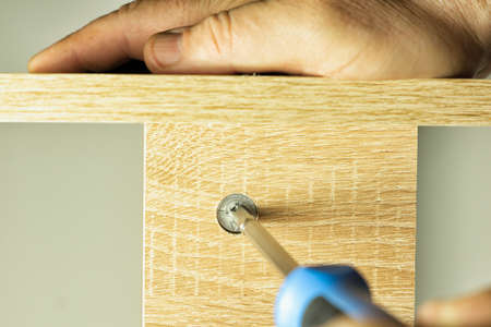 Twisting the threaded furniture fastener into the socket