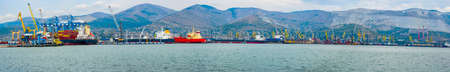 Sea, commercial, industrial port of Novorossiysk, panorama Stock Photo