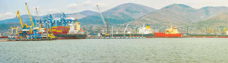 Sea, commercial, industrial port panorama