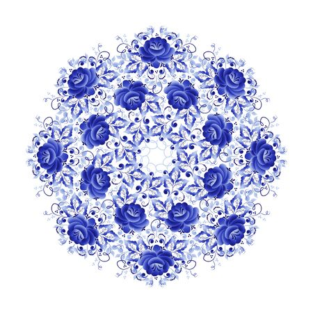 Round plate with a floral ornament of blue color on a white background, made in folk Russian style Gzhel Vettoriali