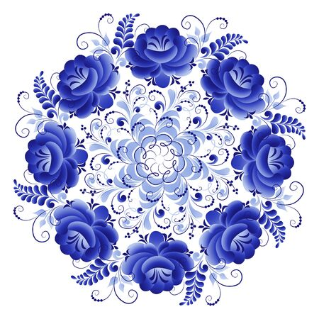 Round plate with a floral ornament of blue color on a white background, made in folk Russian style Gzhel
