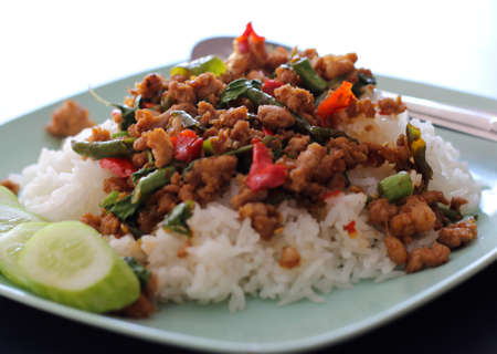 Stir fried pork with holy basil, Thai cuisine