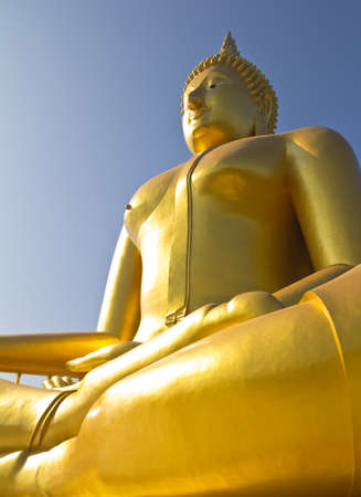 Big Buddha image in Thailand temple photo