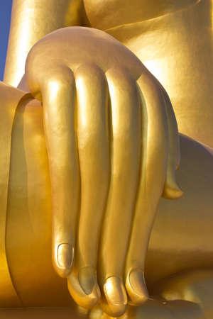 Big hand of big Buddha  image in Thailand temple photo