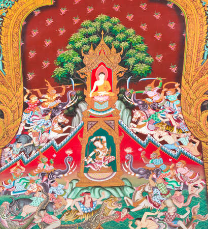 The Art thai painting on wall in temple.