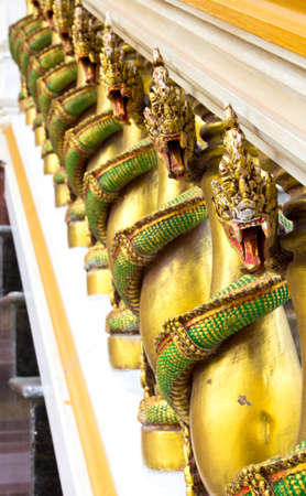 The serpent in the temple of Thailand photo