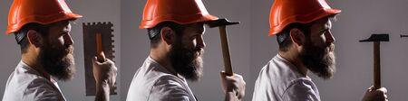 Bearded man worker with beard, building helmet, hard hat. Builder in helmet, hammer, handyman, builders in hardhat. Tool, trowel, man builder