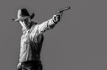 Cowboy with weapon. American bandit in mask, western man with hat. Farmer or cowboy in hat. Man wearing cowboy hat, gun. West, guns