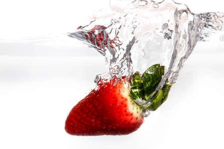 nibble: strawberry Stock Photo
