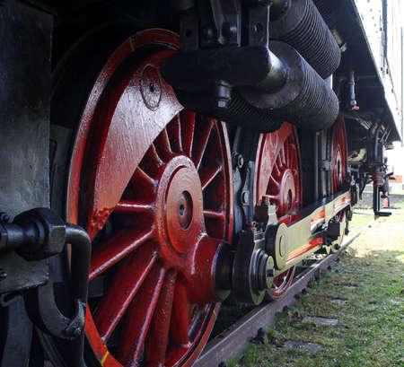 effrontery: Wheels a historic steam, lock, railway, nostalgia Stock Photo