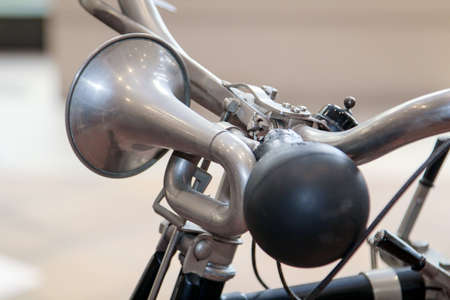 This is an old bicycle horn on the handlebar