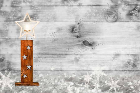 Christmas wooden wall with stars decoration Stock Photo - 120958912