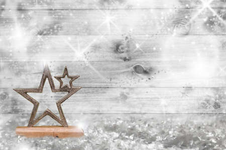 Christmas wooden wall with stars decoration Stock Photo - 120958981