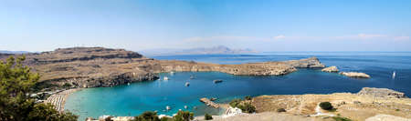 View of the harbor and bay of Lindos Rhodes