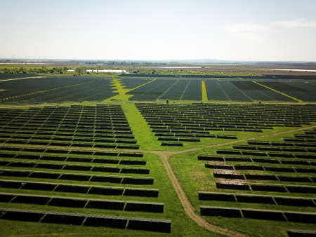 Large solar panel installation from the air Imagens