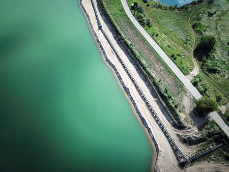a drone image over a gravel Standard-Bild