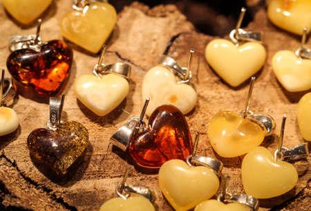 nice hearts made from amber Standard-Bild - 121318325