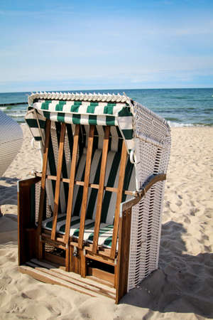 a beach chair on the baltic sea Фото со стока