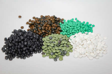 Granules in various forms and containers Stock Photo