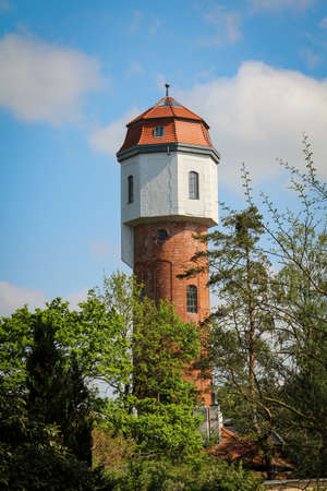 A water tower protrudes between trees, water tower of Graal Mueritz