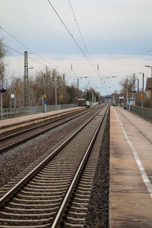 View, details of railroad tracks, rails