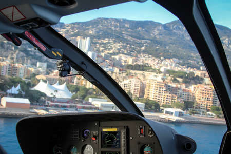 The cockpit of a helicopter