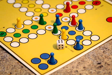 Game board with game pieces, board games are intended for children and adults