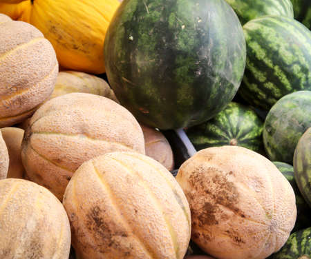 Melons are offered in a market Standard-Bild - 133161786