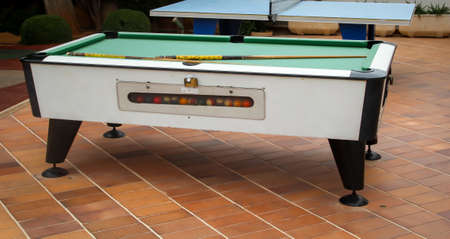 Billiards, pool table, details of a pool table